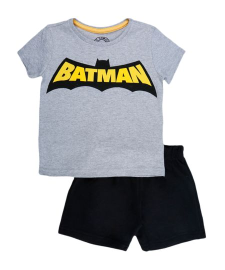 Conjunto de Camiseta + Bermuda Batman Menino Cinza Mescla