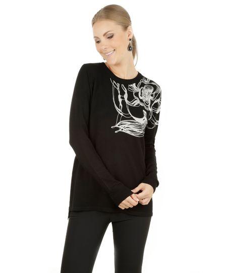 Suéter com Estampa Abstrata Preta