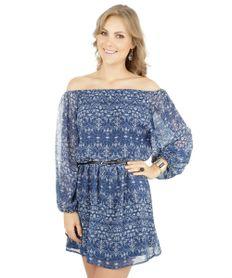 Vestido-Estampado-de-Arabescos-com-Cinto-Azul-Escuro-8050962-Azul_Escuro_1