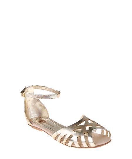 Sandália com Laser Cut Dourado