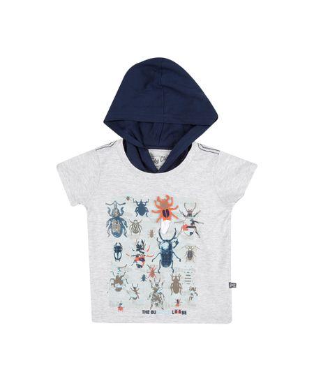 Camiseta com Capuz Insetos Cinza