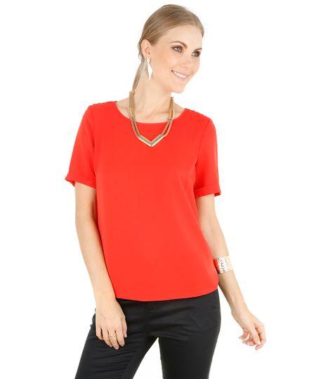 Blusa com Renda Vermelha