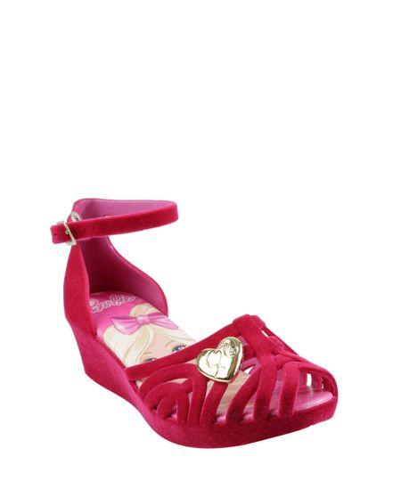Sandália Plataforma em Veludo Barbie Pink