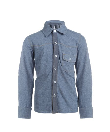 Camisa com Bolsos Azul