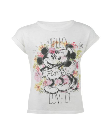 Blusa com Estampa Minnie & Mickey Off White