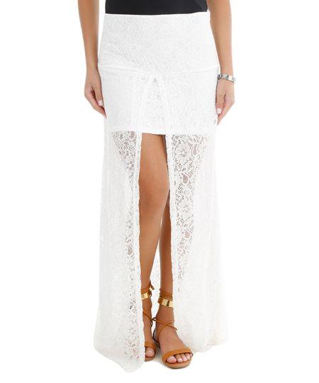 4b44e48104 Saia Longa em renda off white (R  119