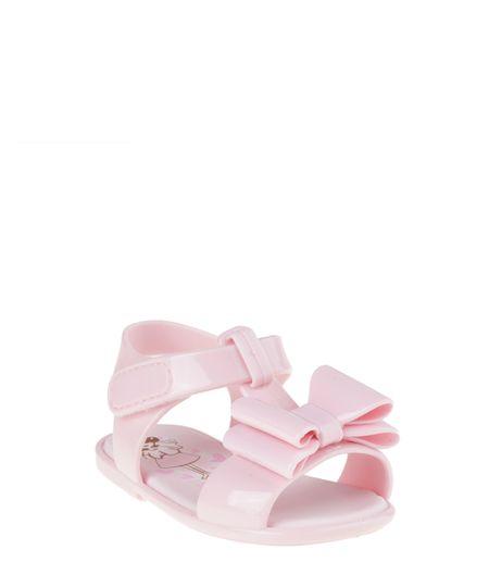 Sandália Pimpolho com Laço Rosa Claro