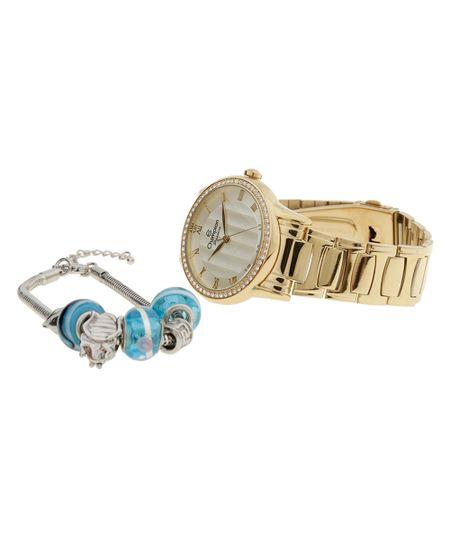 Kit de Relógio Champion Feminino Analógico + Pulseira CN29310G - Dourado