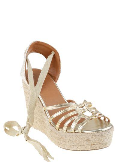 Sandalia Plataforma Dourada