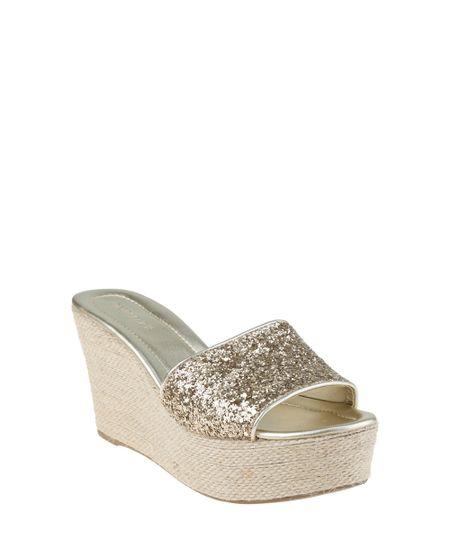 Sandália Plataforma com Glitter Dourada