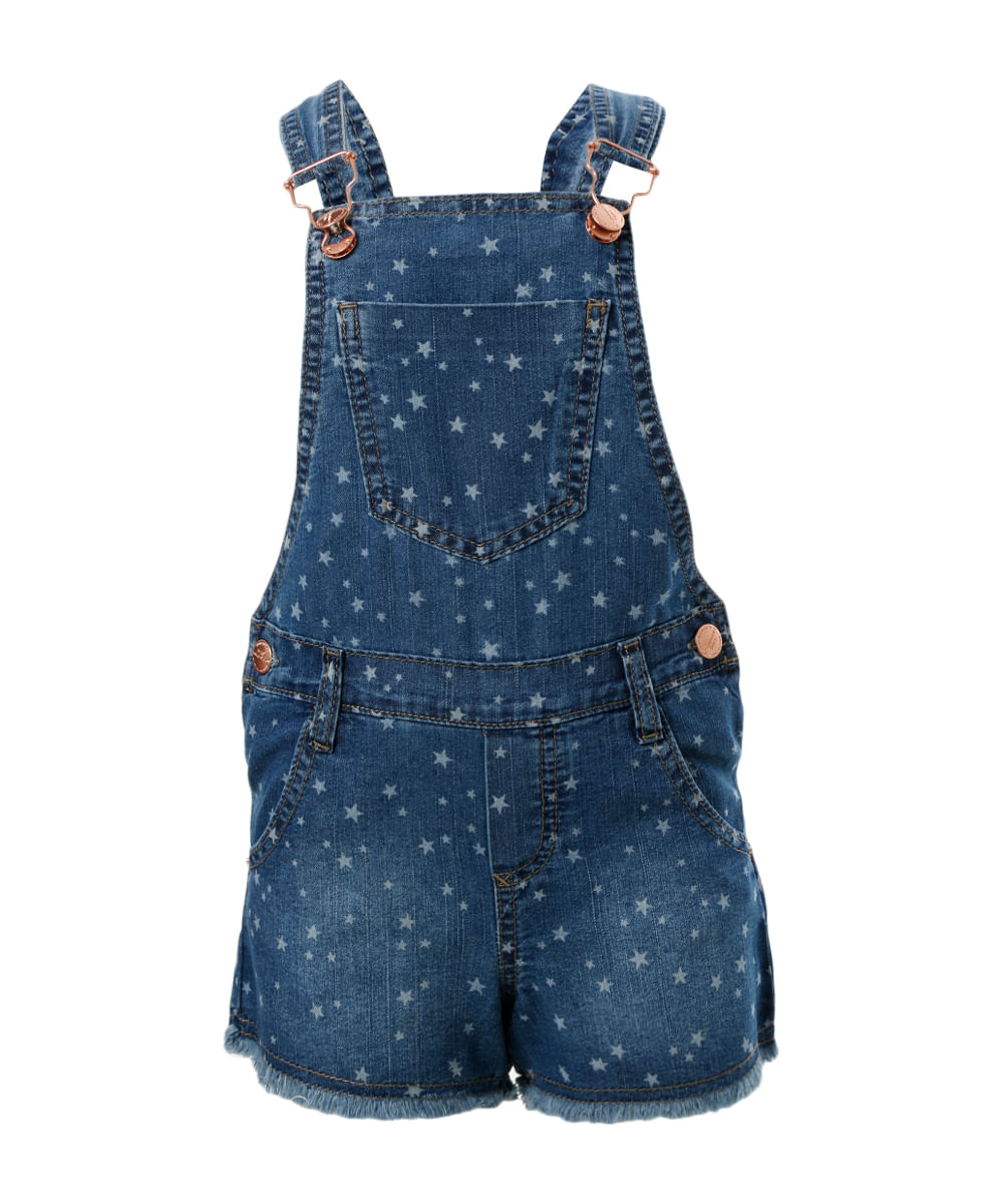Jardineira jeans estampadas azul m dio cea for Jardineira jeans infantil c a