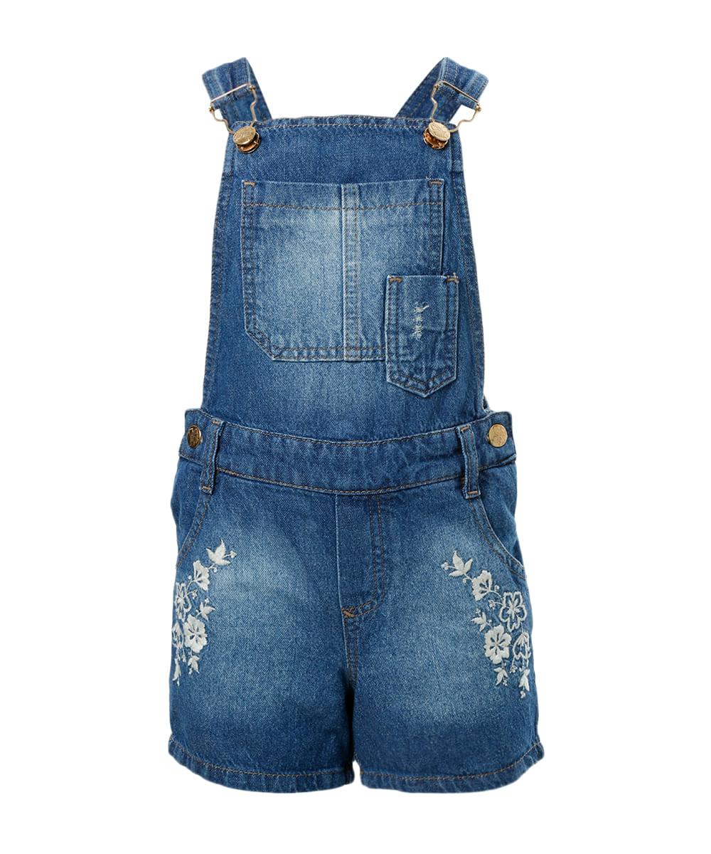 Jardineira jeans com bordado azul m dio cea for Jardineira jeans c a