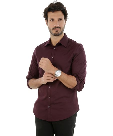 Camisa Social Slim Vinho
