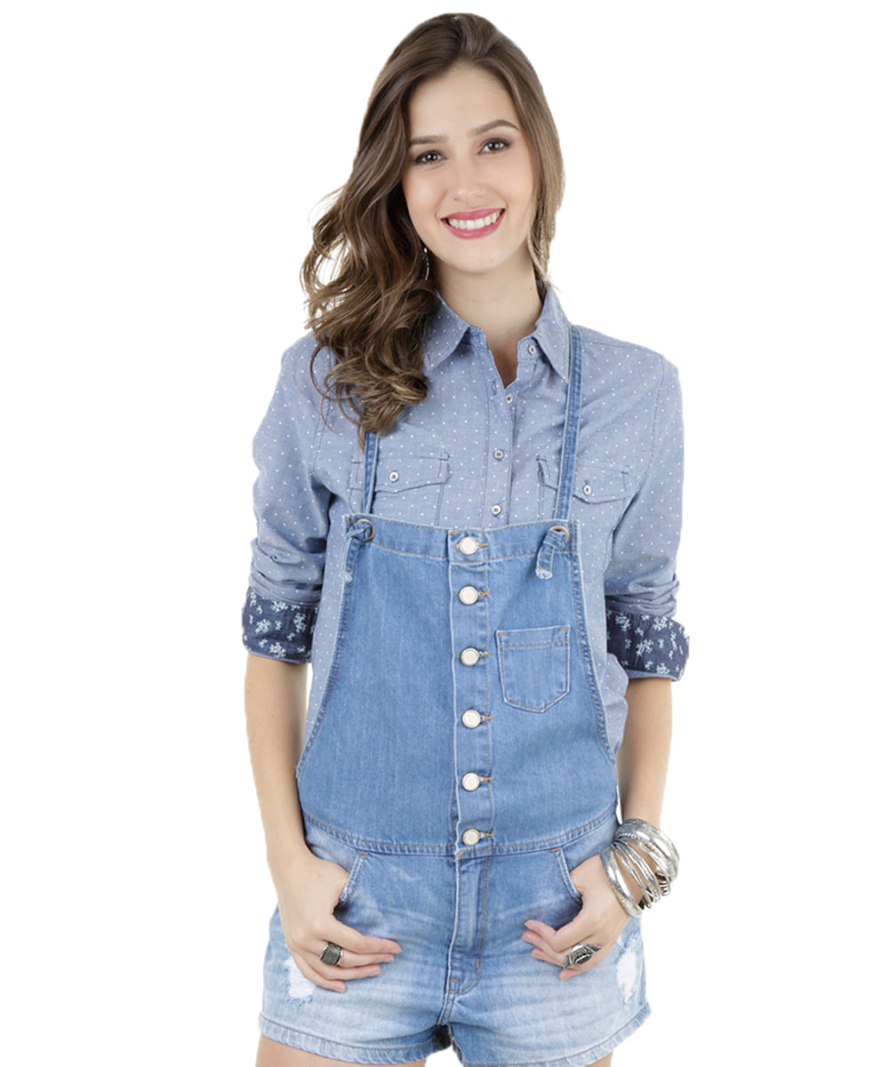 Jardineira jeans azul claro cea for Jardineira jeans feminina c a