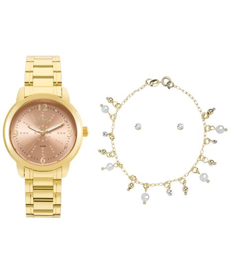 75a607584b52f Kit Relógio Allora Feminino Algodão Doce AL2035FMF K4L - Dourado
