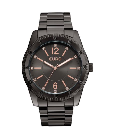 ae039353454 Relógio Euro Feminino Brilho Metalizado EU2035YMN 4P - Preto