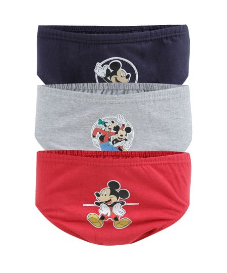 Kit de 3 Cuecas Mickey Multicor