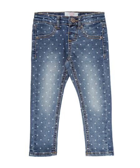 Calça Jeans Estampada Azul Médio