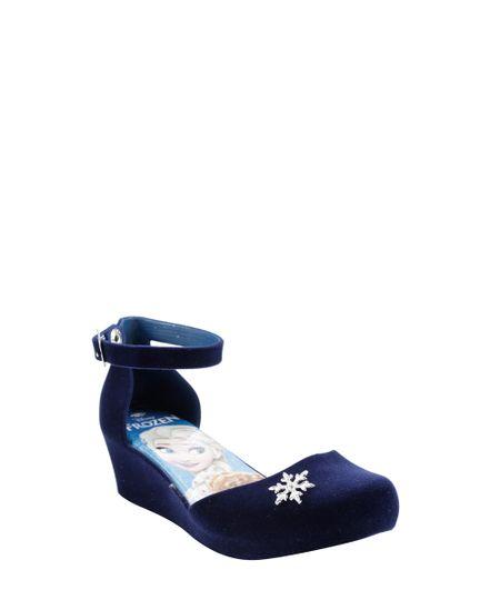 Sandália Plataforma Frozen em Veludo Azul Marinho