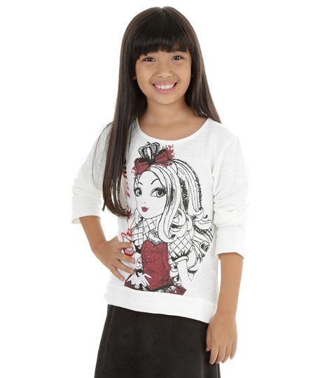 Blusão em Moletom Ever After High Off White