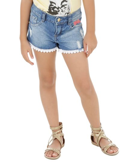Short com Renda Barbie Azul Médio