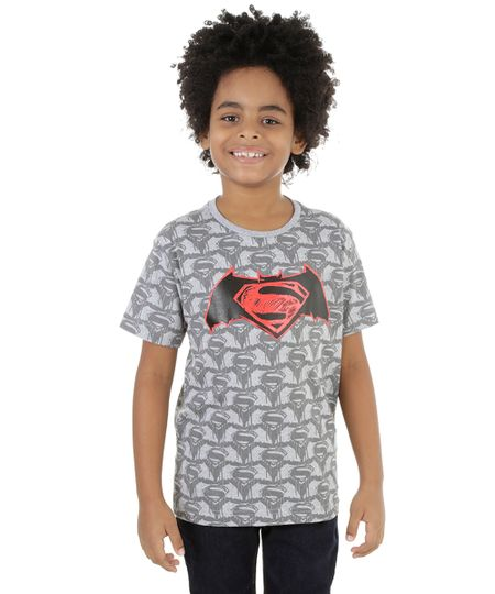 Camiseta Batman Vs. Superman Cinza Mescla