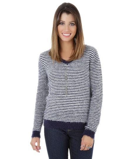 Suéter Listrado em Tricô Azul Marinho