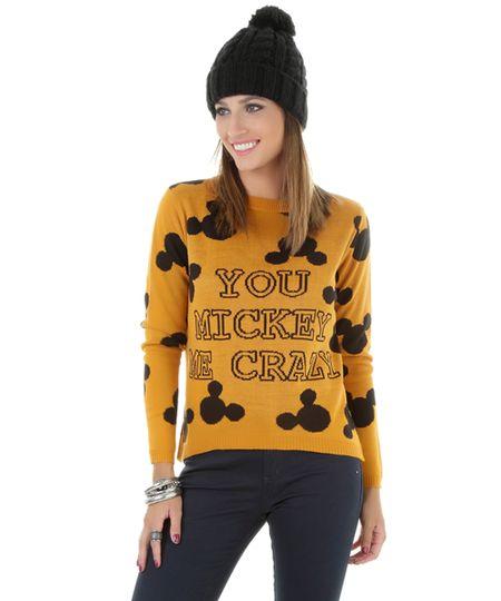 Suéter Mickey em Tricô Caramelo