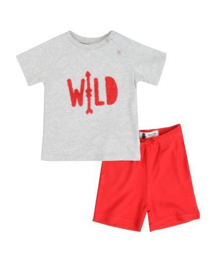 Conjunto de Camiseta Cinza + Short Vermelho