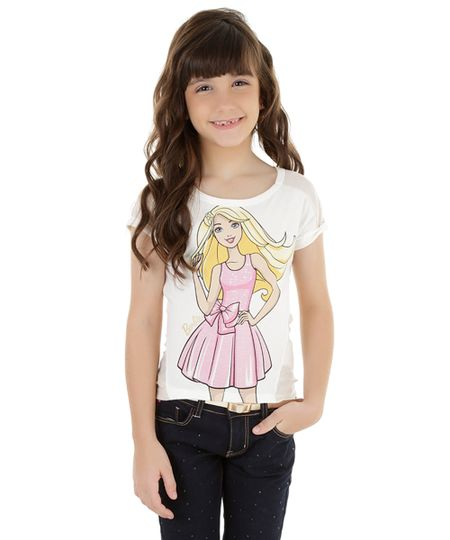Blusa com Tricô Barbie Off White