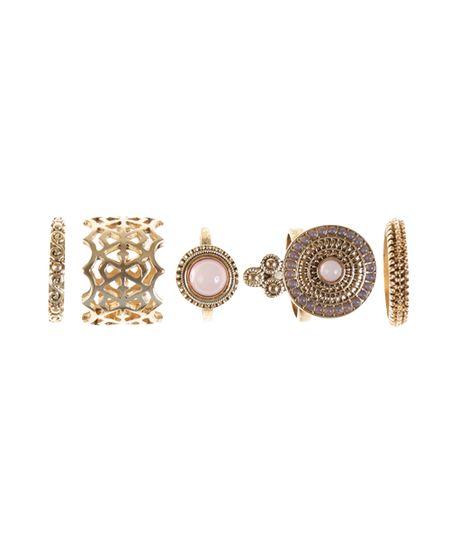 Kit de 6 Anéis Dourado