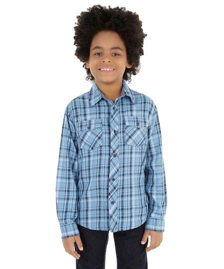 Camisa Xadrez Azul Claro