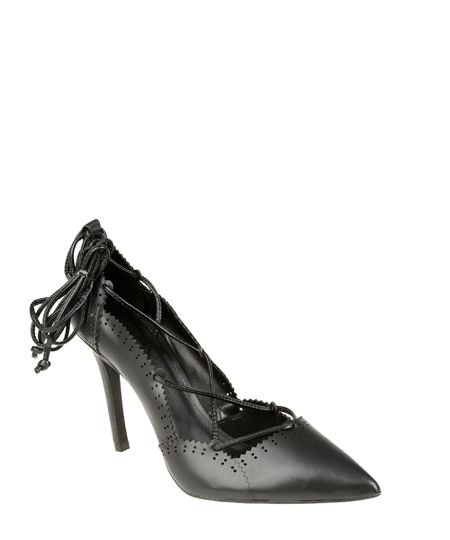 Scarpin Lace Up Preto