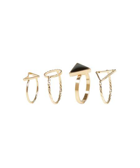 Kit de 4 Anéis Dourado