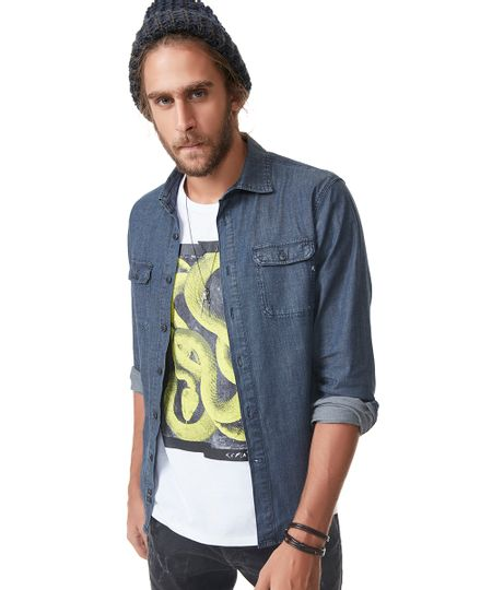 Camisa Jeans Replay Azul Escuro