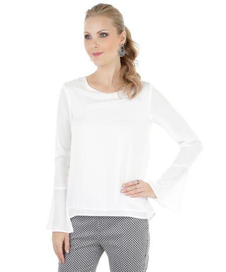 Blusa com Recorte Vazado Off White