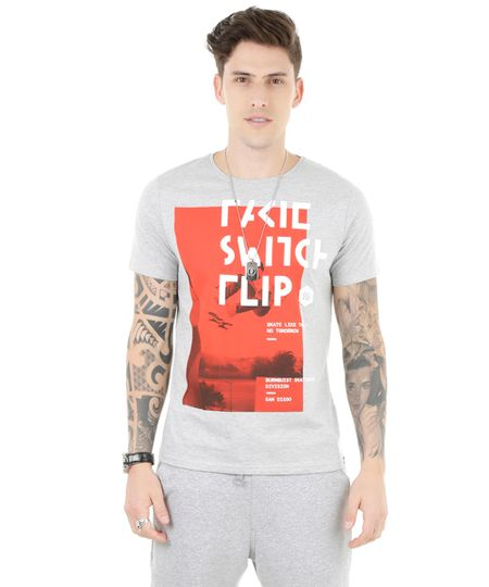 Camiseta Skate Bob Burnquist Cinza Mescla