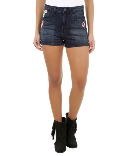 Short Hot Pant Jeans com Patch Azul Escuro