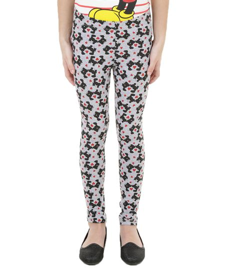 Calça Legging Estampada Mickey e Minnie Cinza Mescla