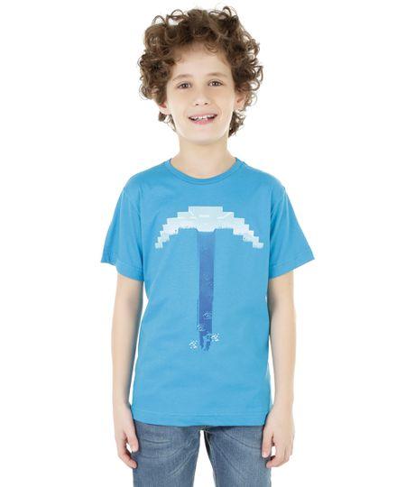 Camiseta Minecraft Azul Claro