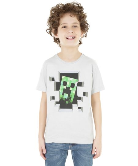 Camiseta Minecraft Cinza Claro
