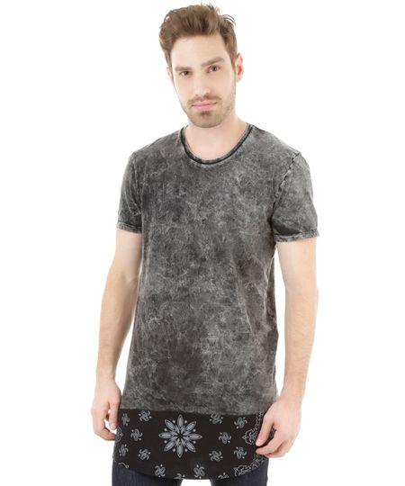 Camiseta Longa Cinza Mescla