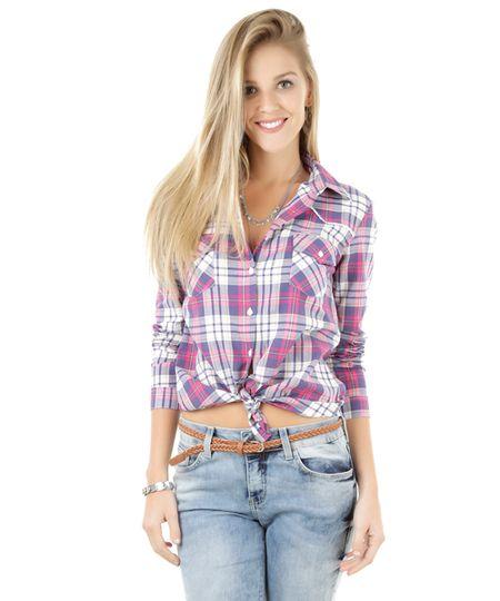 Camisa Xadrez com Renda Rosa
