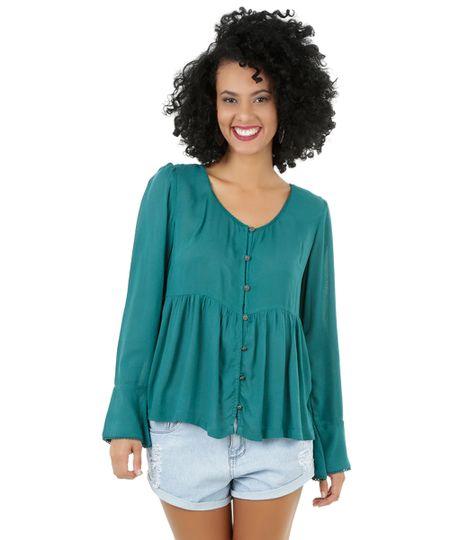 Camisa com Guipir Verde