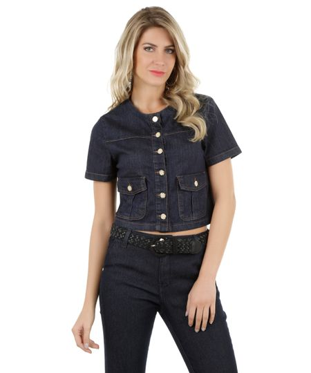 Blusa Cropped Jeans Azul Escuro
