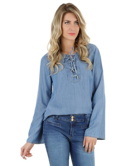 Blusa Jeans Azul Médio