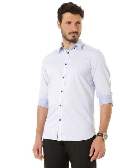Camisa Social Slim Estampada Azul