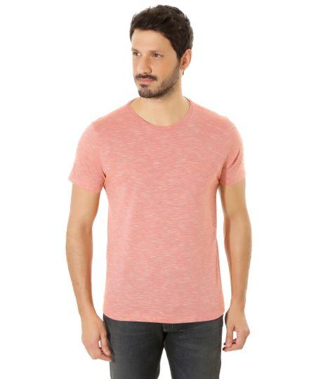 Camiseta Flamê com Bolso Coral