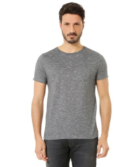 Camiseta Flamê com Bolso Cinza