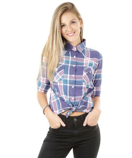 Camisa Xadrez com Renda Roxa
